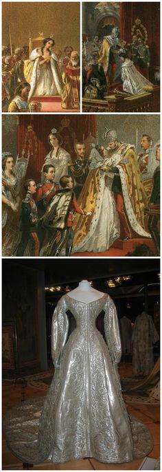 """Clockwise from top left: Details of coloured lithographs from the coronation book of Tsar Alexander II, 1856, via Wikimedia Commons: """"Metropolitans kneel in prayer at the coronation,"""" by Timm; """"Crowning of the Empress,"""" by Zichy; """"Members of the imperial family congratulate Alexander II,"""" by Zichy. Coronation dress of Empress Maria Alexandrovna, consort of Alexander II, Russia, 1856. Silk brocade, silver threads, embroidery. Moscow Kremlin Museums, via Gogmsite.net."""