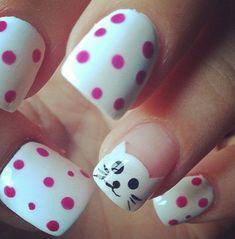 Super cute cat nail art!   N A I L S   Pinterest