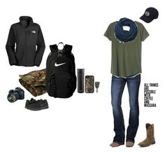 """""""Busy Day"""" by kansascountrygirl ❤ liked on Polyvore featuring NIKE, Miss Me, Gap, Eos, Aggie Gray, Justin Boots, Contigo, Hjälte Jewellery and The North Face"""