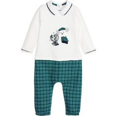 Mayoral Baby Boys White & Checked Layered Romper  at Childrensalon.com