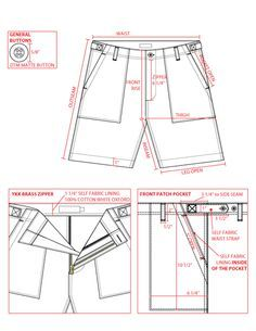Example of a technical drawing for fashion production