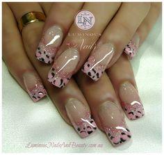 Luminous Nails and Beauty - Gold Coast - Queensland - Acrylic Nails - Gel Nails - Acrylic Gel Nail Art Design Gallery - Acrylic Gel Nail Design Photos - Nail Art Images Cute Nail Art Designs, Cheetah Nail Designs, Leopard Print Nails, Colorful Nail Designs, Acrylic Nail Designs, Pink Leopard, Pink Zebra, Pale Pink, Pink Black