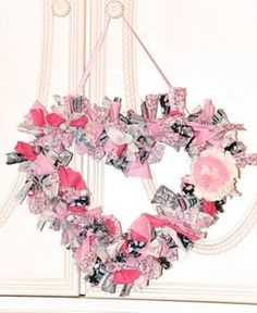 Shabby Chic Heart Wreath- DIY Would like to do in lace and ribbons cream and white of course!