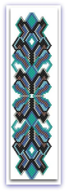 BP-AB-024 - Ocean Splendor - Even Count Brick Stitch Shaped Beadwork bracelet Pattern - One Of A Kind Design