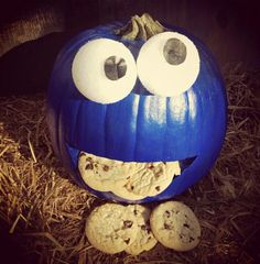 My cookie monster pumpkin carving for the contest at work