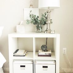 Using as nightstand with different inserts.