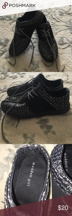 Black Look alike Yeezys!! Black look alike Yeezy boost!! Worn once, purchased from Burlington coat factory!! They run a size big, I am usually a 9 in tennis shoes!! Shoes Sneakers