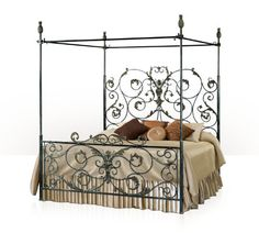 A wrought iron and verdigris brass four poster King Bed frame, artichoke finials, open head and footboard, scrolling leaf decoration. The original French Provincial. Steel Bed Design, Four Poster Bed Frame, Wrought Iron Beds, Victorian Bedroom, Brass Bed, King Bed Frame, Iron Furniture, Bedroom Furniture, Diy Bed