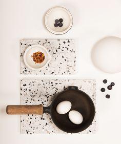 Confetti Terrazzo Board - OK Design Ok Design, Deco Design, Rustic Kitchen, Kitchen Decor, Terrazzo Tile, Mood And Tone, Idee Diy, Mid Century Decor, Home Decor Accessories