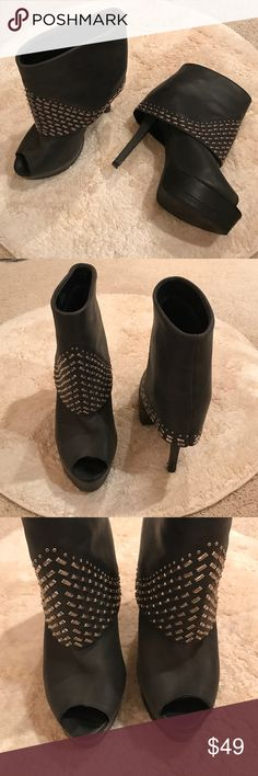 """❄️SALE❄️ Steve Madden Studded Leather Booties Sexy, edgy and chic! Only worn once. These peep-toe platform booties are studded and sky high, yet comfortable and supportive enough for a night of dancing. Vintage-inspired """"worn"""" fold-over leather with silver hardware throughout. A couple of scuffs to the platforms and heels that are only visible from very close up (pictured. 5.25 heel with 1.25 platform (feels like a 4-inch). True to size! Steve Madden Shoes Heeled Boots"""