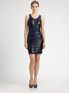 Nicole Miller - Ponte/Leather Combo Sheath Dress - Saks.com