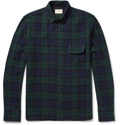 Simon Miller's long-sleeved shirt has been woven from lightweight wool in a reserved midnight-blue, black and dark-green Black Watch check. Designed to complement laid-back pieces like the brand's ace denim, it's a faultless choice for low-key days. Wear yours open over T-shirts or layer it under a leather jacket when the weather cools.