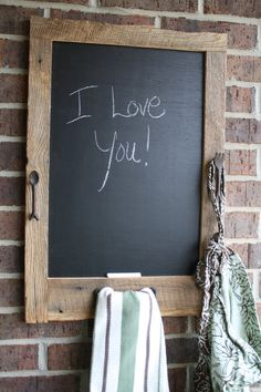 Tan Barn wood Chalkboard with a Towel Bar and by timelessjourney