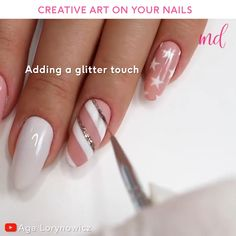 The more manicure options you have, the better 🤗😍 By Aga Lorynoeicz on Youtube Nail Art Designs Videos, Nail Design Video, New Nail Designs, Nail Art Videos, Colorful Nail Designs, Pastel Nail Art, White Acrylic Nails, Nail Swag, Pretty Nail Art