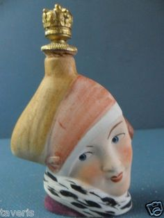 Art Deco 1925 Perfume Flask German Porcelain Lady Head Flapper Crown Top | eBay♥•♥•♥