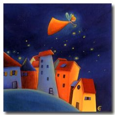 Star Fairy sprinkling out the night stars. Marie Cardouat, Art Fantaisiste, Art Mignon, Art Carte, Illustration Art, Illustrations, Naive Art, Whimsical Art, Cute Art