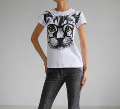 Fashion White Cat with Glasses Printing T-shirt, Short Sleeve Cotton Dresses, Loose Round Female T-shirt