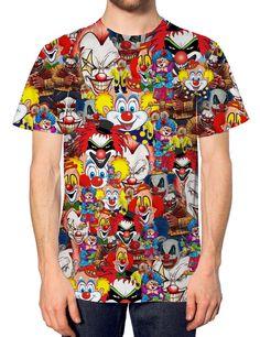 Clown All Over Print T Shirt Halloween Top Fancy Dress Costume Spooky Funny Joke