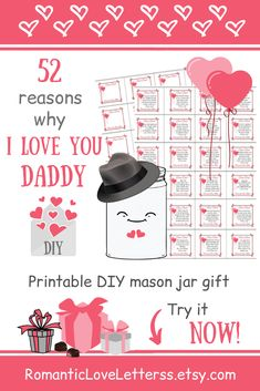 These Printable 52 Reasons Why I Love You Daddy Notes are excellent sentimental DIY gift for Dad from Daughter (Thank You Dad gift)! Please visit our website to buy it now!    #daddyquotes #dadfromdaughter #sentimentalgifts #diygiftsfordad #fatherquotes #diycardsfordad #daddygifts #thankyoudadgifts #romanticloveletterss Diy Cards For Dad, Diy Gifts For Dad, Best Dad Gifts, Daddy Gifts, Thank You Dad, Love You Dad, Thank You Gifts, My Love, Sentimental Gifts For Men