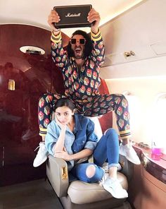 Check out: Ranveer Singh and Alia Bhatt turn up the crazy quotient before Manish Malhotra show at India Couture Week Deepika Padukone Dresses, Deepika Ranveer, Ranveer Singh, Bollywood Couples, Bollywood Celebrities, Bollywood Fashion, Bollywood Actress, Bollywood Style, Bollywood News