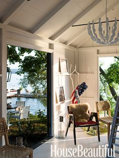 Boathouse hangout. Design: Thom Filicia. housebeautiful.com. #boathouse #lake_house #nautical