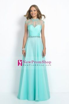 2015 High Neck A-Line Prom Gown ruffled Bodice embellished With A Beaded Belt Chiffon