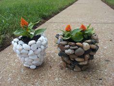DIY River Stone Planter #gardening #summer #flowers