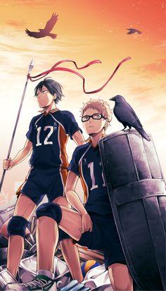 Anime Haikyuu!!- Tsukishima Kei, Yamaguchi Tadashi, Karasuno High