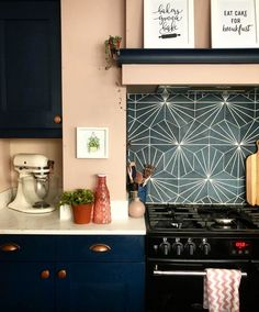 Buy Palm Springs Blue tiles from Porcelain Superstore. Visit our website for great deals on porcelain tiles all with 5 year guarantee. Pink Kitchen Walls, Pink And Grey Kitchen, Navy Kitchen Cabinets, Dark Blue Kitchens, Kitchen Wall Colors, Blue Cabinets, Kitchen Decor, Kitchen Ideas, Kitchen Inspiration