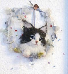 Cute needle felted cat wall hanging by bachsebastian2002 from Japan