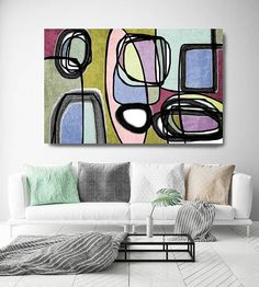 Vibrant Colorful Abstract-55. Mid-Century Modern Green Pink