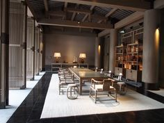 CCD 南山万豪 Asian Interior Design, Chinese Interior, Japanese Interior, Interior Design Living Room, Chinese Tea Room, Chinese Courtyard, Zen Interiors, Asian House, Hotel Architecture