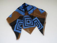 1980s Vera Neumann Vintage Scarf Scarves by Vera Brown Black