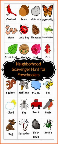 Neighborhood Scavenger Hunt for Kids (Toddlers and Preschoolers) - Printable of 48 items to search for and find in your neighborhood or park