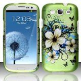 Green Flowers Hard Case Faceplate Protector Cover For Samsung Galaxy S3 i9300!