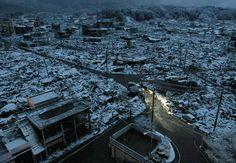 japan post earthquake, tsunami & snow
