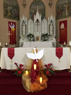135 Good Pentecost Craft & Decorations Photo Ideas - Page Pipe And Drape Backdrop, Church Banners Designs, Church Altar Decorations, First Communion Decorations, Prayer Garden, Altar Flowers, Decor Crafts, Craft Decorations, Church Stage Design
