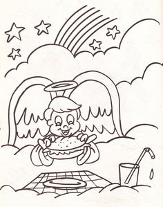 from an Angels coloring book - boy angel eating a hamburger in the clouds