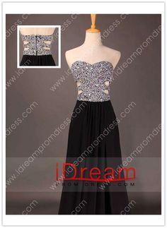 V-Neck  A Line Chiffon Sequined Bodice Prom Dresses