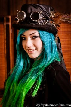 Blue Haired Steampunk - Kamilikescake at SD gaslight gathering