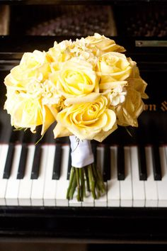 A sweet yellow rose bouquet featured on The Lovely Find.