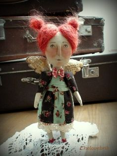 This appears 2 B a Fabric Doll...but I would probably try using air dry clay...Love the Hair...AVbHFvCaVTw.jpg (480×640)