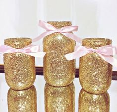 SALE, Pink and gold mason jar set, Pink Bows and Gold Mason Jars, Party Centerpiece, Glitter Mason Jars, First Birthday, Birthday Party Jars