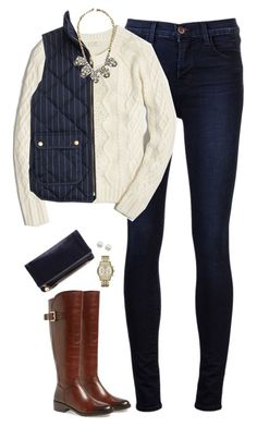 """J.crew pinstripe vest & cable knit sweater with statement necklace"" by steffiestaffie ❤ liked on Polyvore featuring J Brand, J.Crew, Arturo Chiang, Clare V., Michael Kors, Majorica, women's clothing, women's fashion, women and female"