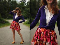 floral skirt, cardigan, simple, pretty