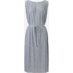 UNIQLO Women's Pleated Jersey Sleeveless Dress (5.520 HUF) via Polyvore featuring dresses, grey, going out dresses, sash belt, sleeveless jersey dress, grey dress and grey sleeveless dress