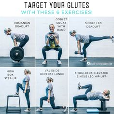 """TARGET YOUR GLUTES WITH THESE 6 EXERCISES to help you target your glutes! You may be surprised to see that there aren't any """"isolation"""" exercises such as glute kick-backs or clam shells. That's not to say these types of exercises are bad - in fact we thi Glute Isolation Workout, Explosive Workouts, Gym Workouts, At Home Workouts, Workout Routines, Workout Plans, Workout Ideas, Yoga Fitness, Compound Exercises"""