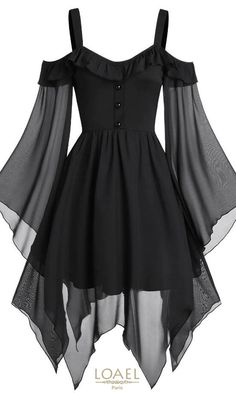 They are beautiful, lovable and affordable. You deserve it! Butterfly Sleeve Cold Shoulder Lace-up Handkerchief Gothic dress-Gothic dress victorian,Gothic dress elegant,Gothic dress casual,Gothic dres Elegant Dresses, Pretty Dresses, Awesome Dresses, Vintage Style Dresses, Black Gothic Dress, Dress Black, Goth Dress, Lolita Dress, Classy Dress