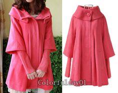 Estilo de la princesa de la sandía capa roja de las Mujeres de lana amueblada chaqueta abrigo de lana del Cabo chaqueta de abrigo de inviern ...
