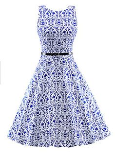 Ezcosplay Women 1950s Sleeveless Cotton Vintage Tea Dress Party Dress with Belt -- To view further for this item, visit the image link. (This is an affiliate link) #FashionDresses